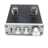 ZHILAI D2 HIFI Digital Audio Preamp 6J1 Valve Tube Preamplifier Dual Channel Treble Bass with Power Adapter Silver