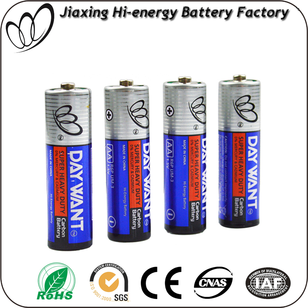 r6 battery 1.5v aa r6 sum3 carbon zinc battery dry cell batteries