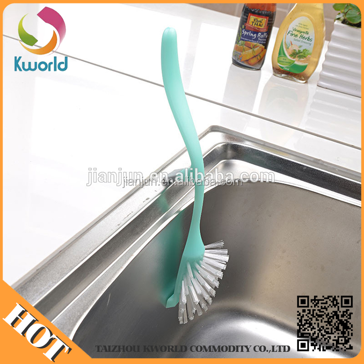 High quality plastic mini Kitchen cleaning brush can hung on the sink