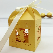 Lovely and decorative yellow angel paper laser cut wedding candy box chocolate favour box baby birthday gift box