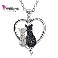 Two-tone Black and White Crystal Love Charm Couple cat Pendant