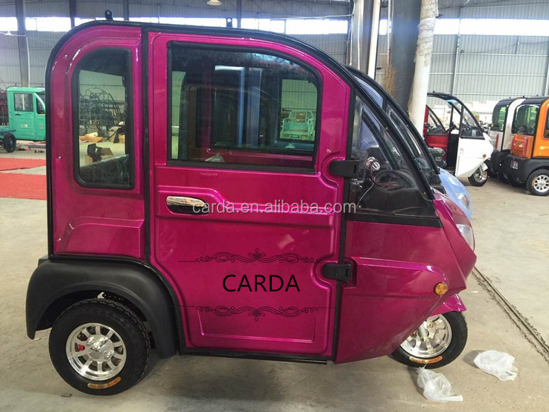 luxury closed passenger electric tricycle/electric powered tricycle with skylight/folding chair erickshaw with electric wiper