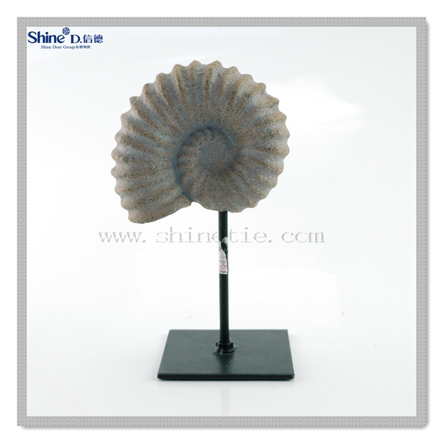 decorative polyresin craft sea conch fossil leaf with metal stand home decor