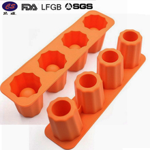 4 Cup Glass Shape Silicone Ice Cube Tray Cylinder