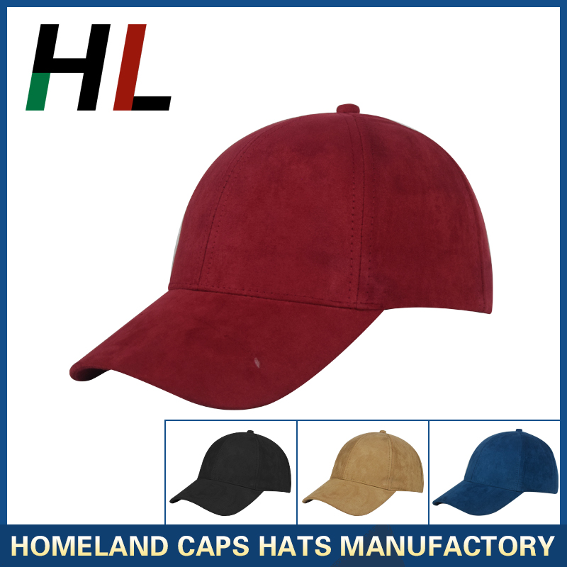 custom designs 6 panel, structured, curved bill,solid color plain faux suede fashion hat baseball caps