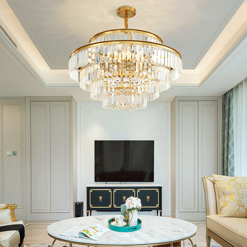 luxury gold round double wedding hall living room Kristall Kronleuchter post modern k9 crystal chandelier pendant light for home