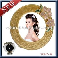 NEWEST round shape mirror flame/ photo frame with flower design
