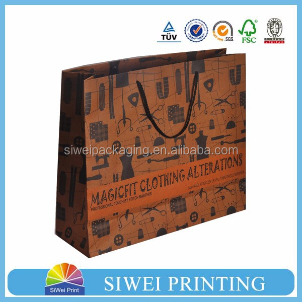 Custom high quality recyclable twist handle printed shopping brown kraft paper bag