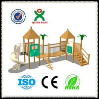 Everlasting kids wooden playground slide/wooden play structure double slide/fun playground games for childrenQX-11058C