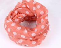 Fashion dot print polyester voile infinity scarf