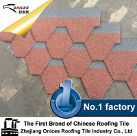 ONICES Fiberglass Asphalt shingle, New Zealand quality colorful stone chip coated steel roofing tile