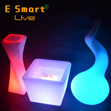 plastic bench illuminated led garden flower lamp light pot outdoor