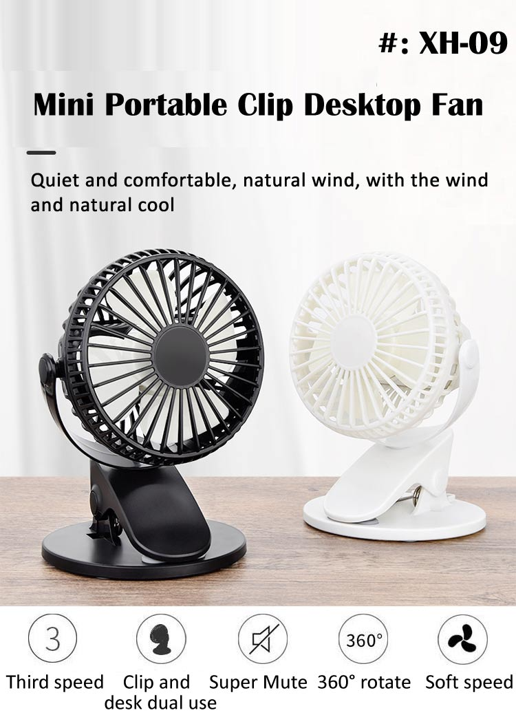Clip-On USB Creative Desktop Fan Office,Pink Suitable for Home Mini Cooling Fan USB//Battery Dual Power Supply 3 Speed Adjustment 360 /° Rotation Quiet Operation