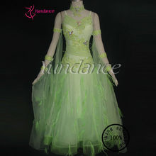 New Modern Waltz Tango Country Girl Dance Costume Green B-10243