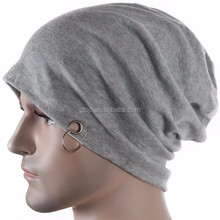 Thin Jersey slouchy Beanie metal Ring Skullcap Slouch Women Baggy Cap SB-459
