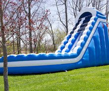 Giant inflatable water slide for adult, inflatable screamer water slide, blue curve water slide inflatable