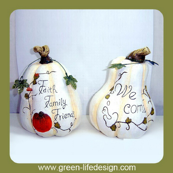 White terracotta pumpkin for harvest gifts