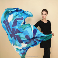 Fashion large arab hijab scarf with blue floral print
