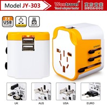 JY-303 Wontravel travel power adapter with Patent color universal travel plug adaptor with USA/AU/EURO/UK universal wall adapter