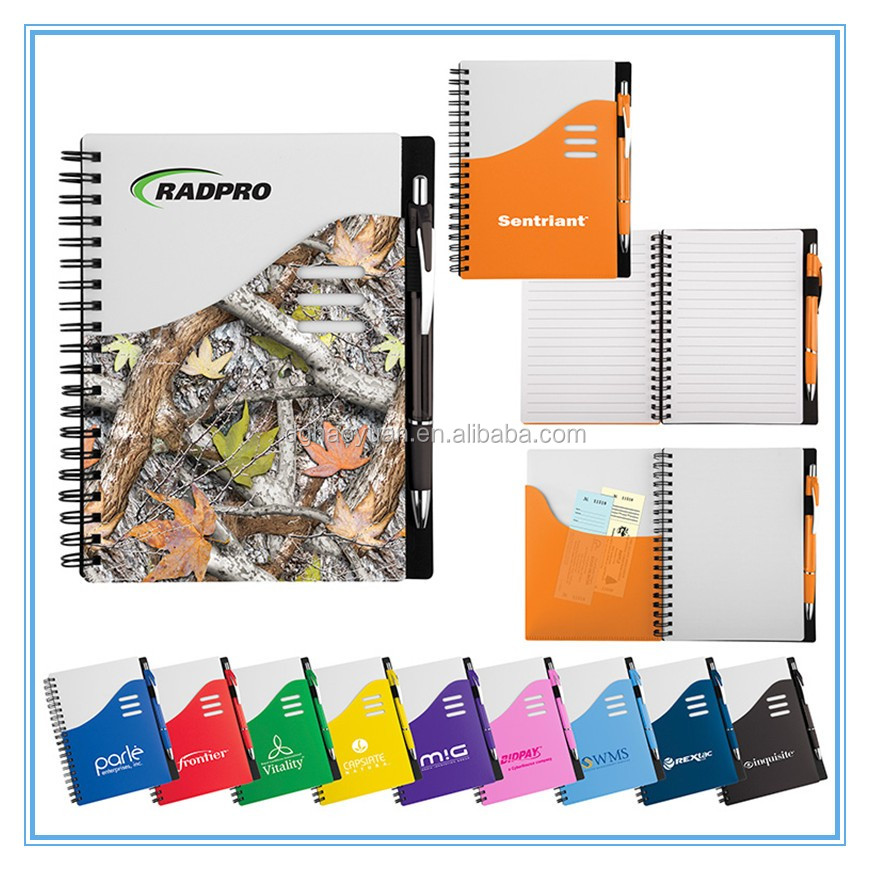PP spiral notebook with logo printing