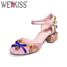 Occident Trends High End Custom Ladies Summer Sandals Chunky Heel Luxury Pleuche Wedding Fancy Sandals with Bow Knot
