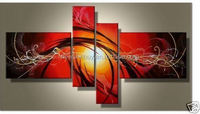 100% Hand painted dance sun bright red lines Abstract landscape Wall home Decor Oil Painting on canvas 4pcs/set mixorde Framed