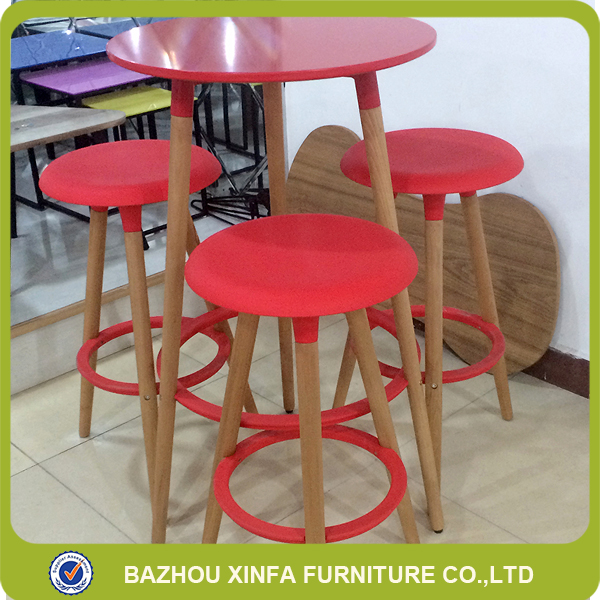 Modern Pub 3 Seater Round Wooden Colored Bar Table Set