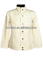 long sleeve stand collar button down military style jackets women