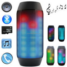 Wholesale Portable Splashproof Pulse Led Light Stereo Wireless Bluetooth Loud Speaker With FM For Party