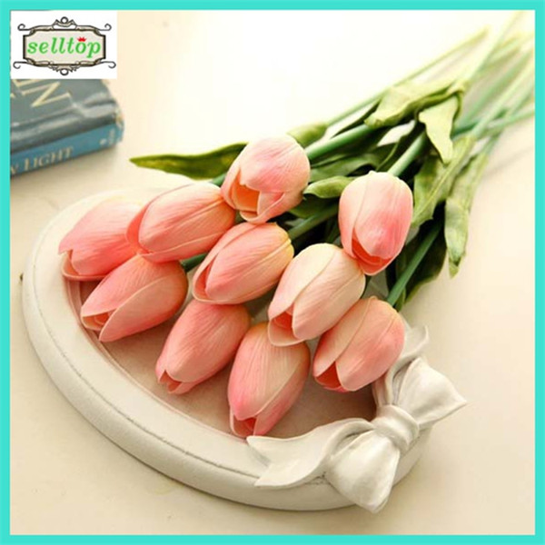 34cm mini pu real touch artificial flower tulips