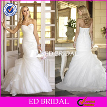 W1241 White Organza Sweetheart Ruched Ruched Bottom Mermaid Bridal Dresses In Karachi