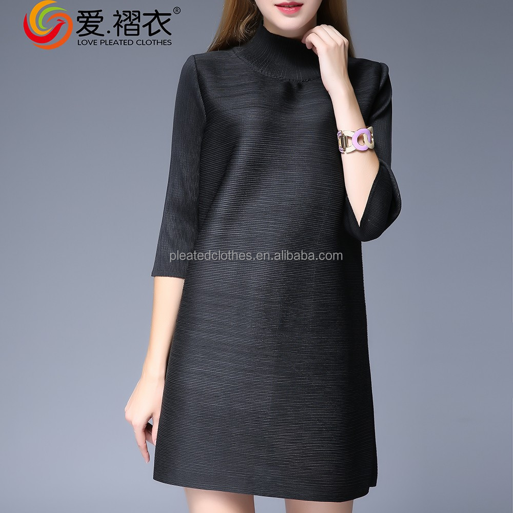 Top quality black women's clothing brands fashion design single pleated clothes