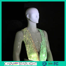 Design wedding party led lighting fiber optic luminous tank tops