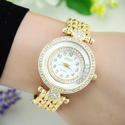 2015 New Luxury Brand Crystal Diamond Stainless Steel Watch Women Fashion Gold Plated Dress Quartz Wrist Watch