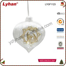 hot sale open glass heart ball with wooden hanging inside for outdoor decor