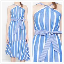 New trendy elegant women vintage dress halter neck asymmetrical hem striped woman clothes
