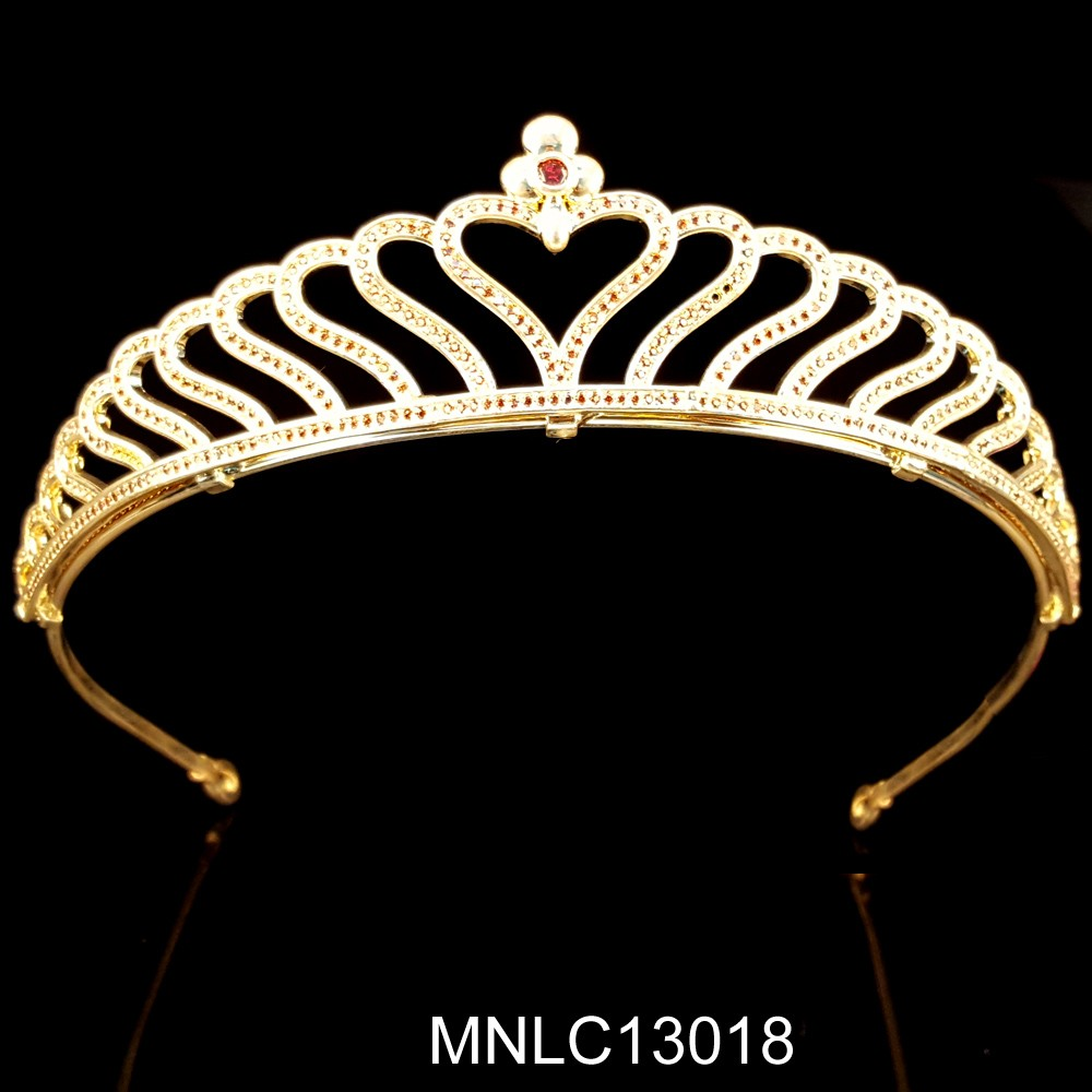Hot selling fashion bling zircon heart bridal crown