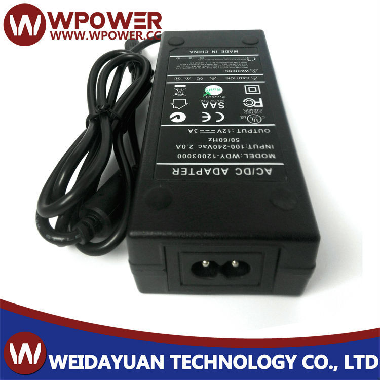 12V 3A power adapter(5.5x2.5mm 5.5x2.1mm DC connecter US UK CE AU plug with FCC CE SAA RoHS certificates)