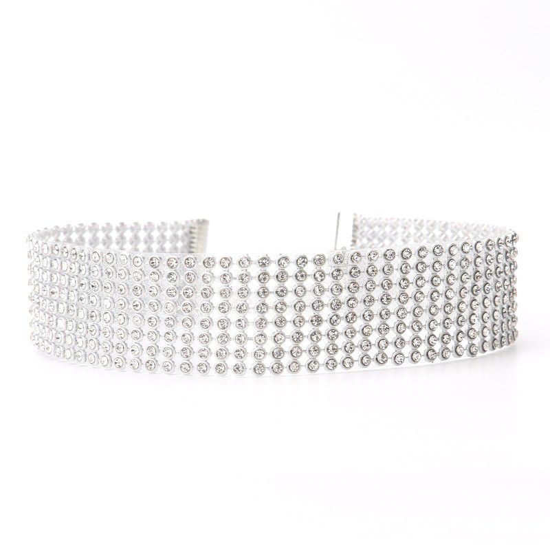 Shiny braided diamond choker <strong>necklace</strong> NSNK-21937