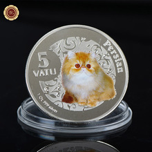 WR Persian Silver Plated Foil Coin Commemorative Cute Cat Challenge Coin with Plastic Case for Collection
