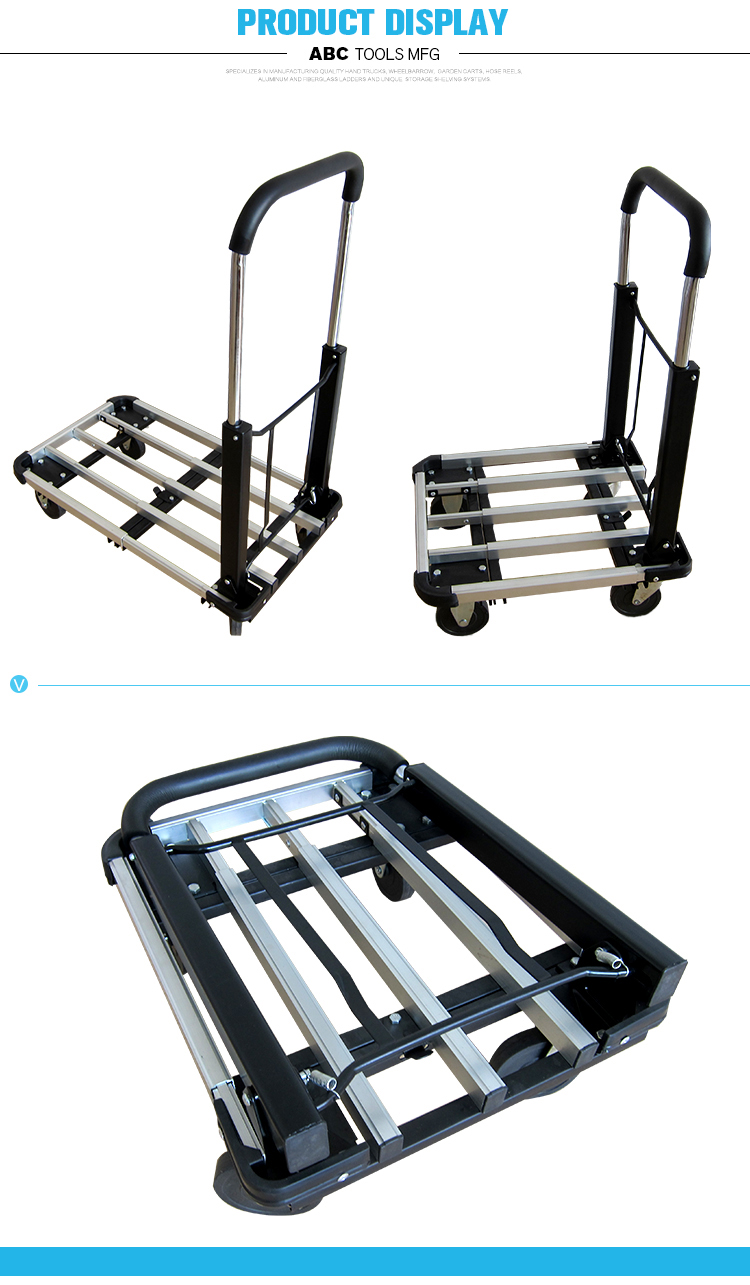 New Product Silver Black 4 Wheel Hand Truck Cart