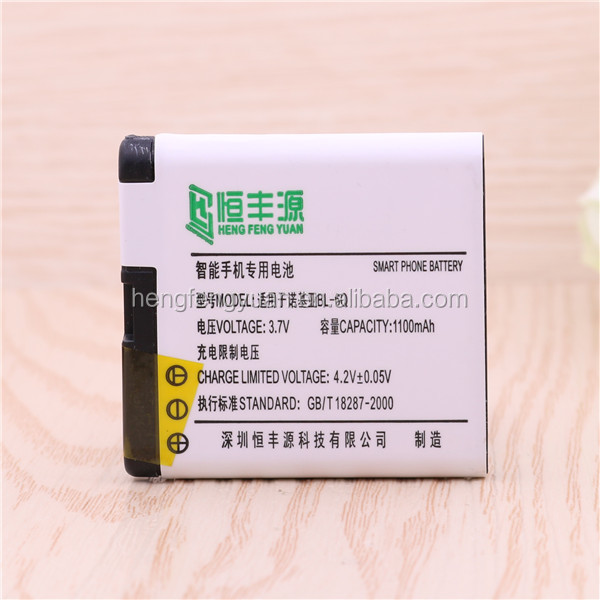 Factory price 3.7V rechargeable mobile battery for Nokia 6700 6700C 6100S 8500