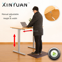 height adjustable desk with eco-frendly bamboo top or laminate top in manual crank way for office home use