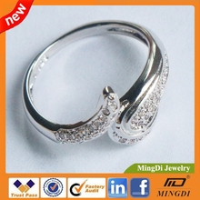 Luxury micro pave cubic zricon 925 sterling silver jewelry wholesale ring with silver brushed surface 2mm