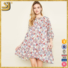 3/4 length sleeved printed latest casual 2016 new arrival ladies western dress designs with tie front