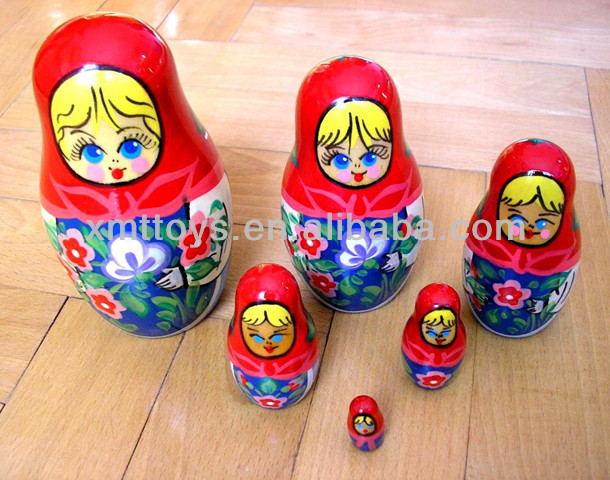 wood nesting dolls with russian feature