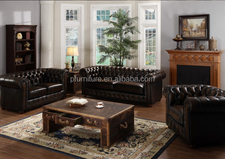 Antique Home Furniture Chesterfield Sofa Set/Home furniture Antique Appearance leather sofa