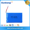 7.4v 1500mah rechargeable polymer lithium battery pack for portable DVD player/PSP/laptop/electric tools