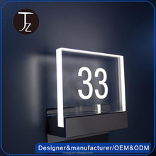 Custom internal acrylic led house number sign system, hotel door number plate