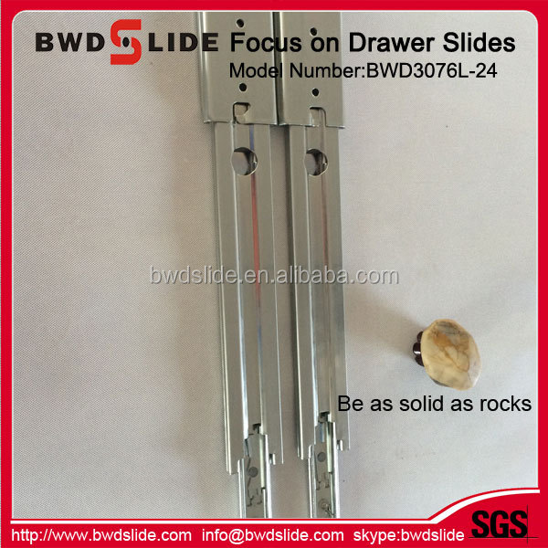 BWD3076L-24 450mm Full Extension Ball Bearing Sliding Track Furniture Drawer Guides